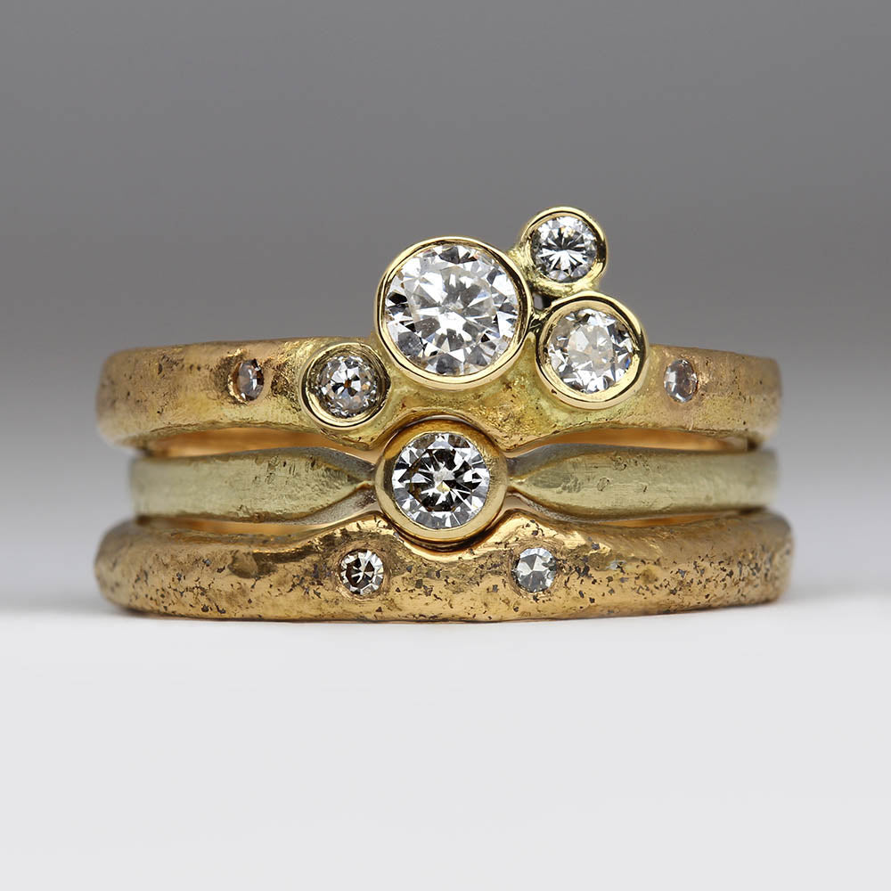 Bespoke Contemporary cluster bridal stacking rings