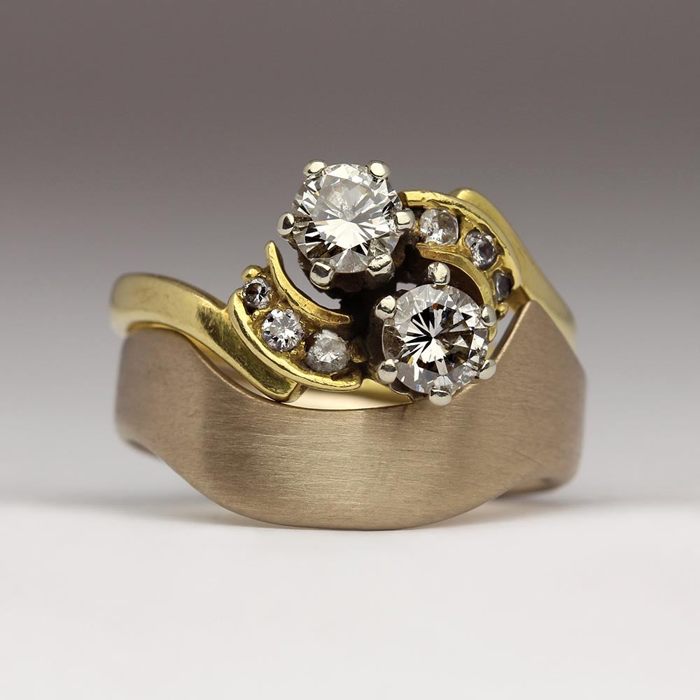 Contemporary chunky shaped wedding ring
