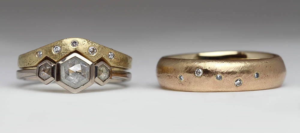 Set of bespoke sandcast rings made from up cycled old jewellery