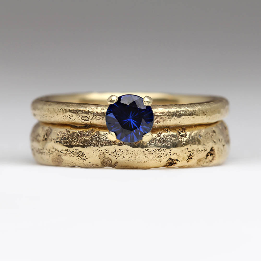 Chunky extra texture wedding ring and sapphire engagement ring