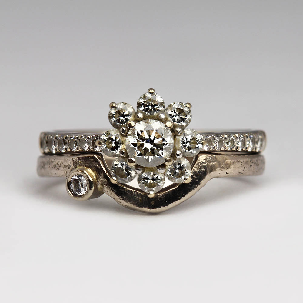 Diamond cluster ring and shaped wedding band