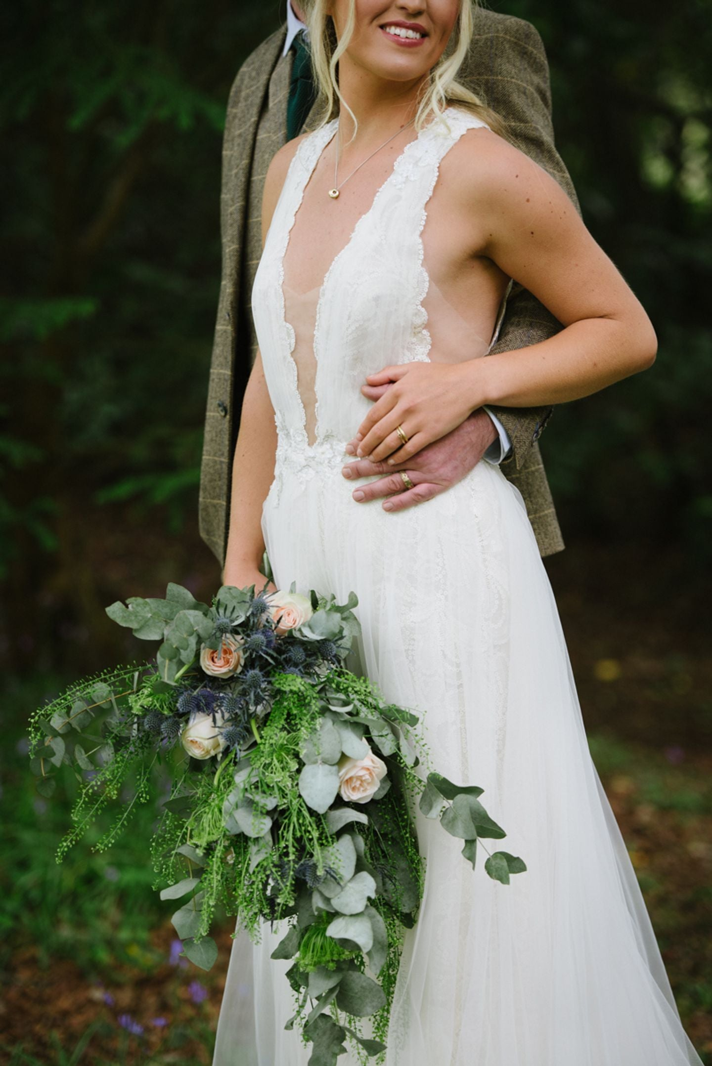 Cornish country house wedding, rustic bridal bouquet and his and hers wedding and engagement rings