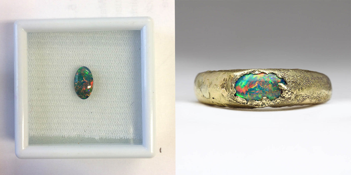 Own opal set into a custom made sandcast ring