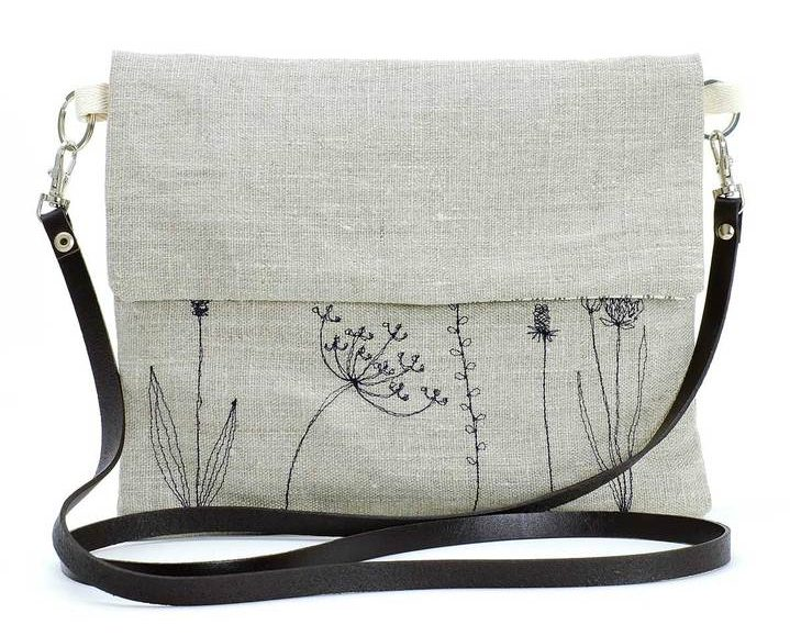Bag with Wild Grasses Embroidered