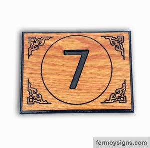 Traditional House Number Plaque Oak :  AH9V