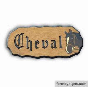 Horse Head Motif Oak House Sign