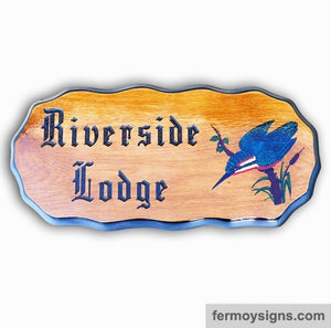 King Fisher Motif Oak House Sign