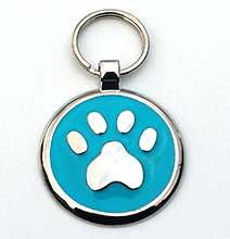 Large Sky Blue Paw Print Tag