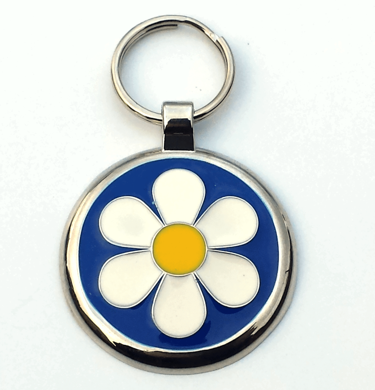 Large Blue Daisy Pet Tag 30mm