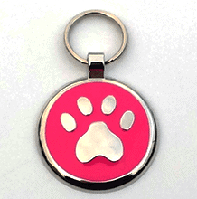 Small Pink Paw Print Tag