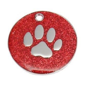 Red Paw Print Glitter Tag