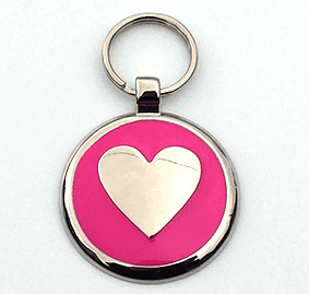 Large Pink Heart Pet Tag