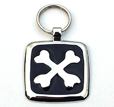 Small Black Cross Bones Pet Tag