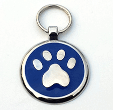 Small Blue Paw Print Tag
