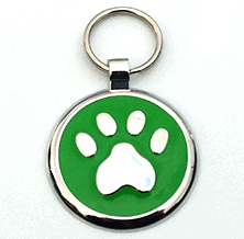 Small Green Paw Print Tag