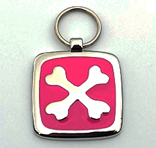 Small Pink Cross Bones Pet Tag