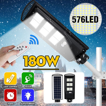 Solar Lamp With PIR Motion Sensor Solar Street Light LED Outdoor Garden Wall Lamp with Remote Controller 80W 140W 180W