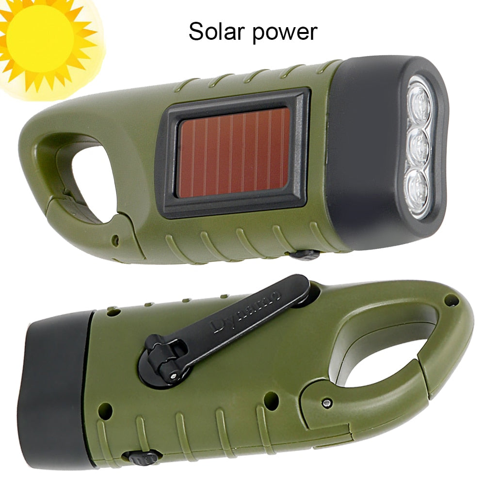 Portable LED Flashlight With Hand Crank Dynamo Great For Outdoor Camping