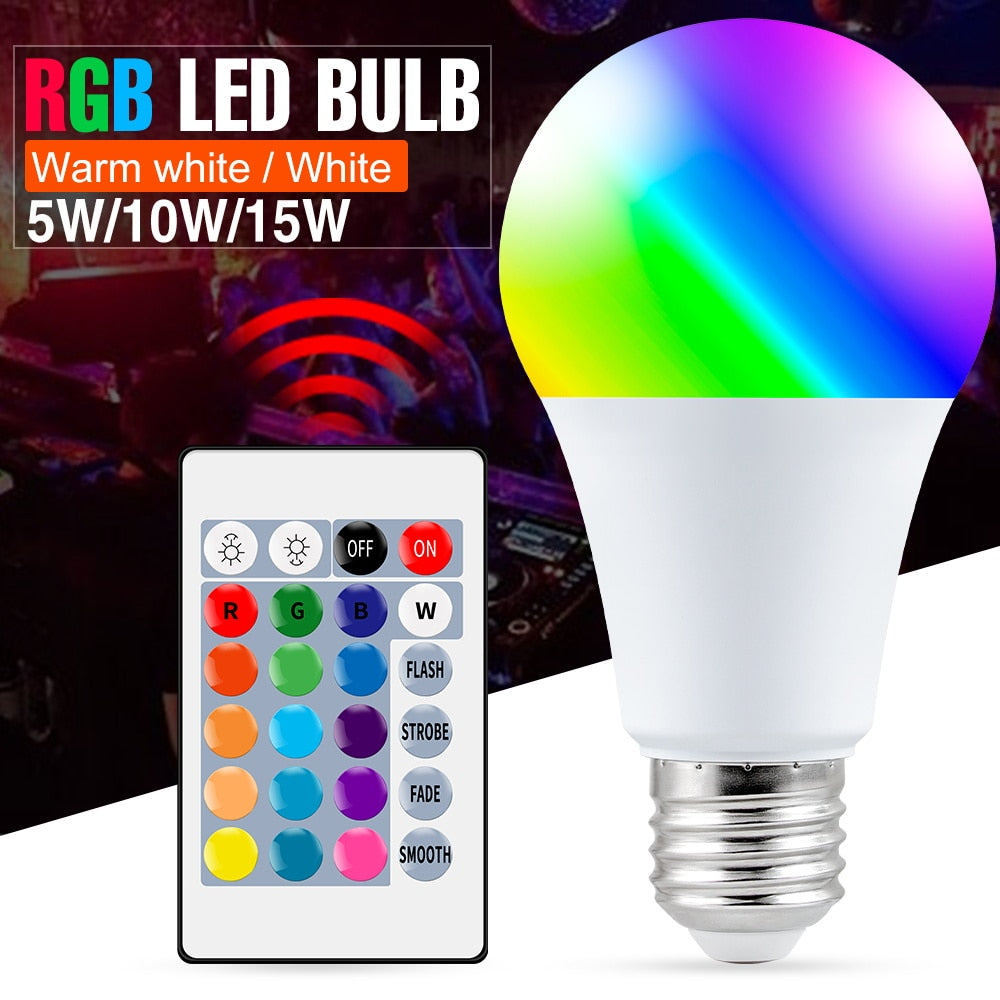 E27 Smart Control LED RGB Light Dimmable 5W 10W 15W RGBW Color Changing Bulb