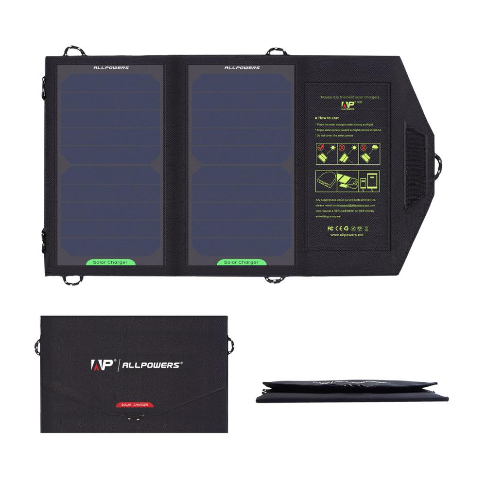 ALLPOWERS Solar Panel 10W 5V Solar Foldable Charger Great for Hiking Camping Outdoors