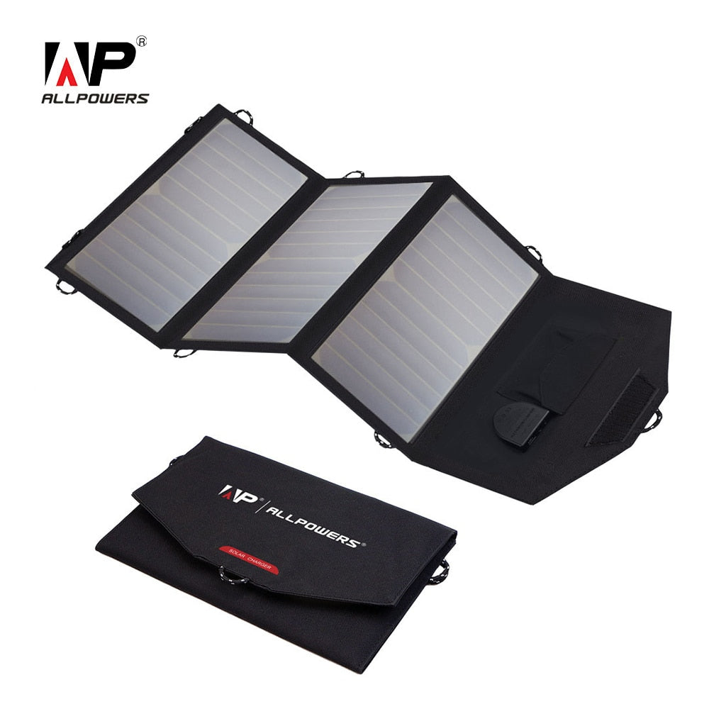 ALLPOWERS 18V 21W Solar Charger Panel Waterproof & Foldable Solar Power Bank Ideal For Outdoor Hiking