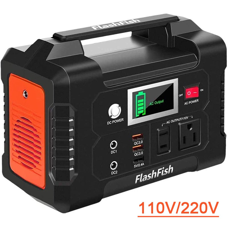 110V Charging Portable Solar Power Station FlashFish 40800mAh Solar Generator Battery Charger Outdoor Energy Power Supply 200W