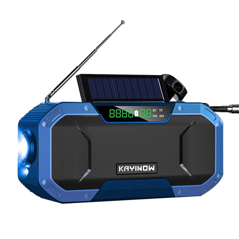 New Solar Hand Crank AM/FM/NOAA Radio SOS With Power Bank LED USB And Bluetooth Speaker