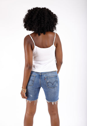 Denim Mid Thigh Distressed Shorts