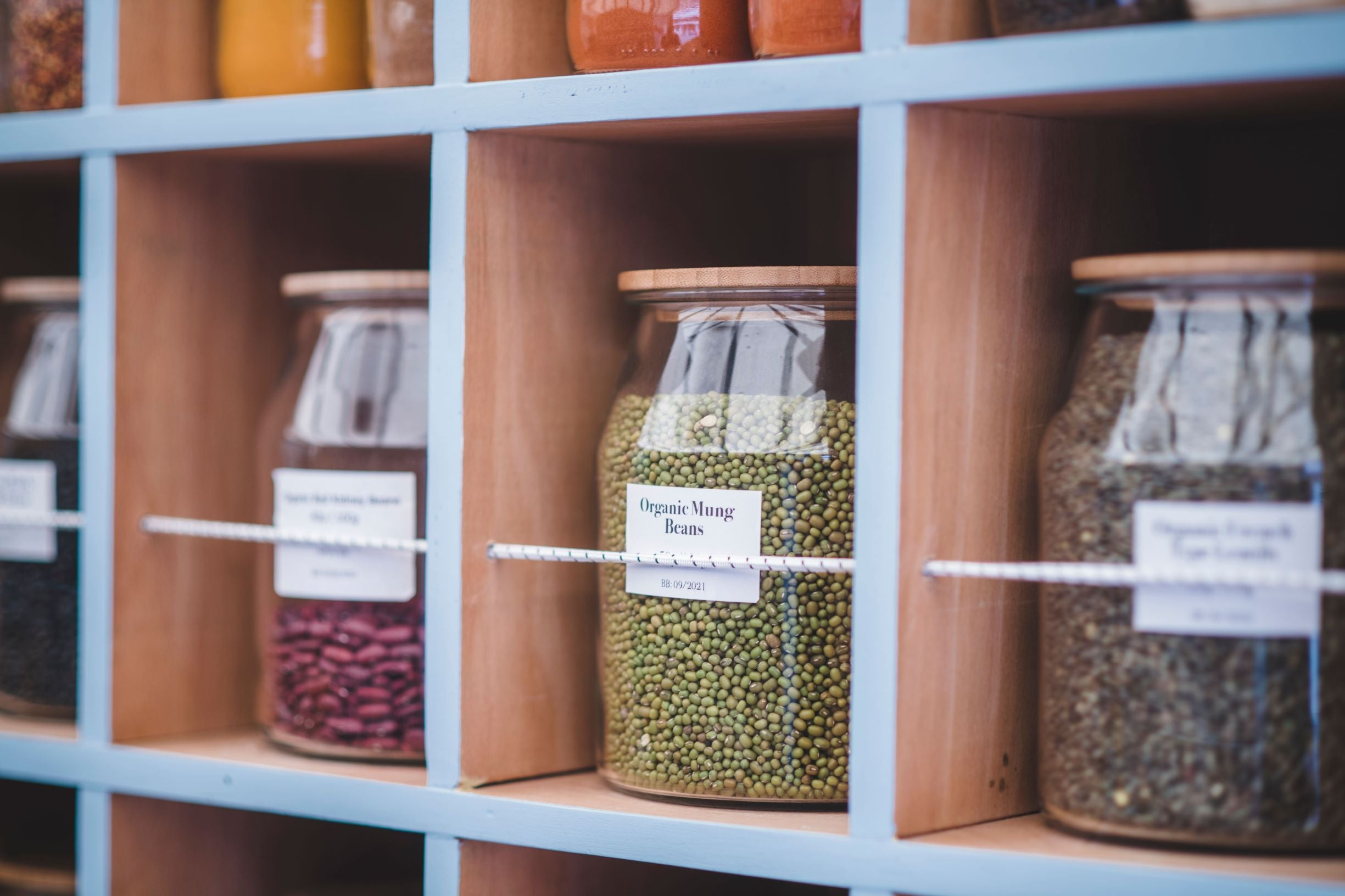 Image of glass jars filled with pulses