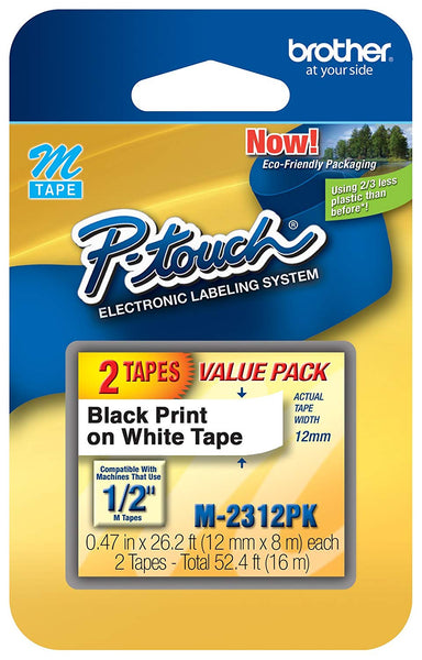 Brother Printer P-Touch M2312PK M Series Cartridges1/2w, Black on White 2/Pack