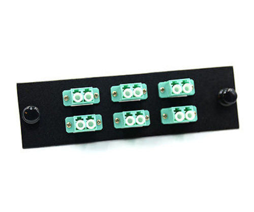 LC 12 Pack Duplex Plate, Multimode 10Gb w/ 6 Aqua LC DX Adapters FT-DLC12LMABLK