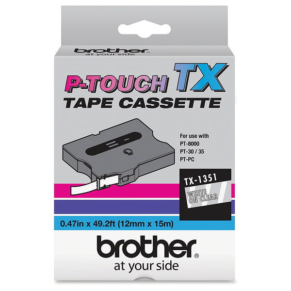 Brother Model TX-1351 White On Clear Tape, 1/2in. x 50ft