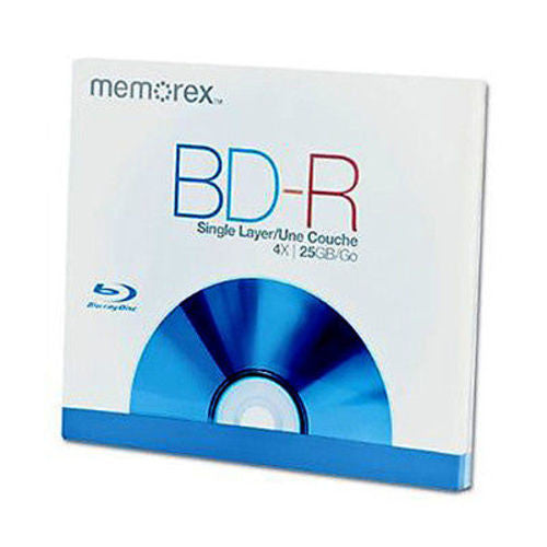 Memorex BD-R Blu-Ray Disc 25GB 4X Single Layer Standard Jewell Case 73951072-B