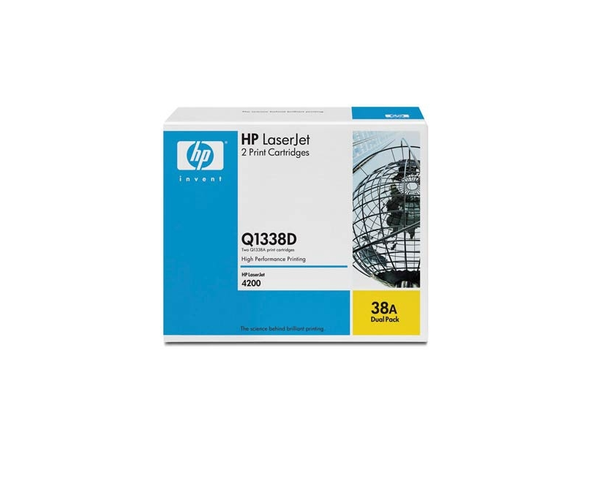 HP 38A Black Standard Yield Toner Cartridge, 2/Pack (Q1338D)