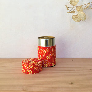 Red with Orange Blossoms, Washi Paper Canister