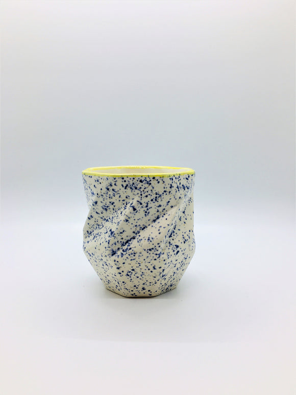 Blue Speckle w/ Yellow Lip Tea Cup