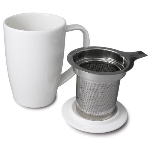 FORLIFE Tall White Mug with lid & strainer