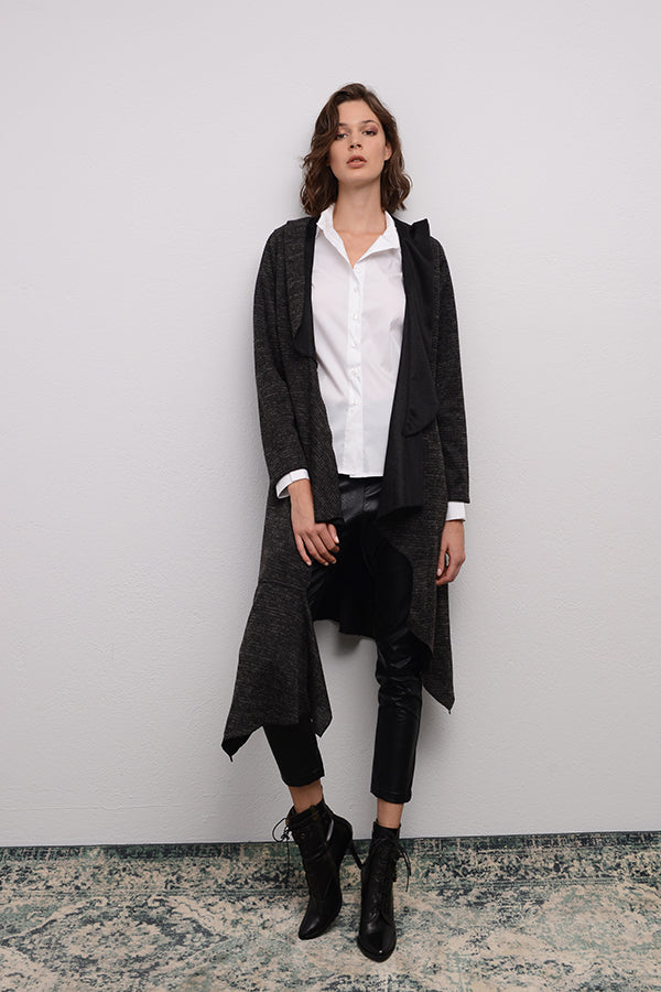 ASSYMETRIC CARDIGAN WITH HOOD