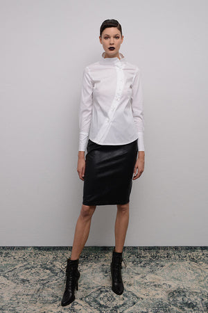 CROCO EFFECT FAUX LEATHER PENCIL SKIRT