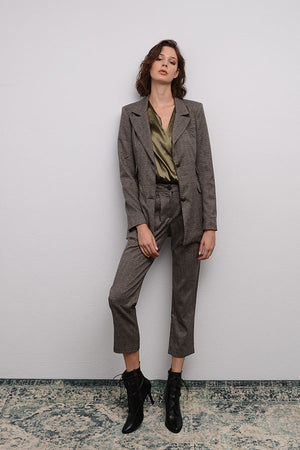 GREY PLAID BLAZER SUIT
