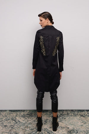 LONG SHIRT WITH EMBROIDERY FLOWERS