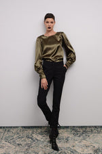 SATIN BLOUSE WITH VOLUMINOUS SLEEVES