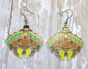 Neon Turkey Thanksgiving Earrings
