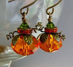 Two Hanging Pumpkin Thanksgiving Earrings