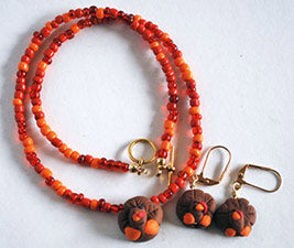 Matching Thanksgiving Necklace and Earring Set