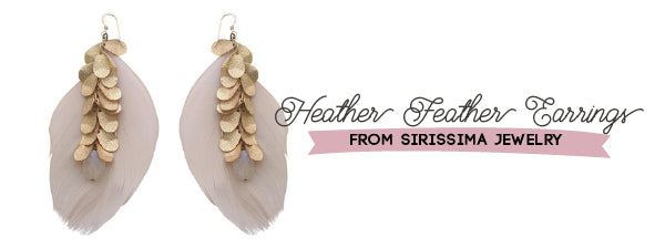 Heather Feather Earrings New Years Eve from Sirissima Jewelry