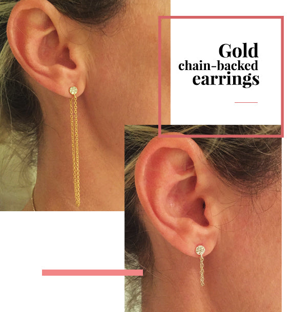 Gold Chain Backered Earrings