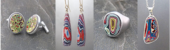 fordite jewelry pieces