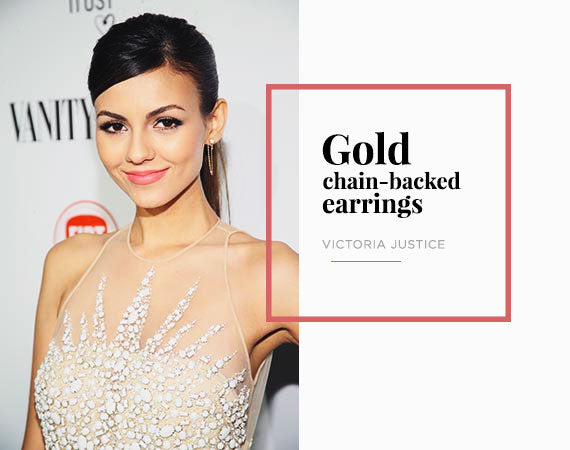 Victoria Justice Chain Backed Earrings