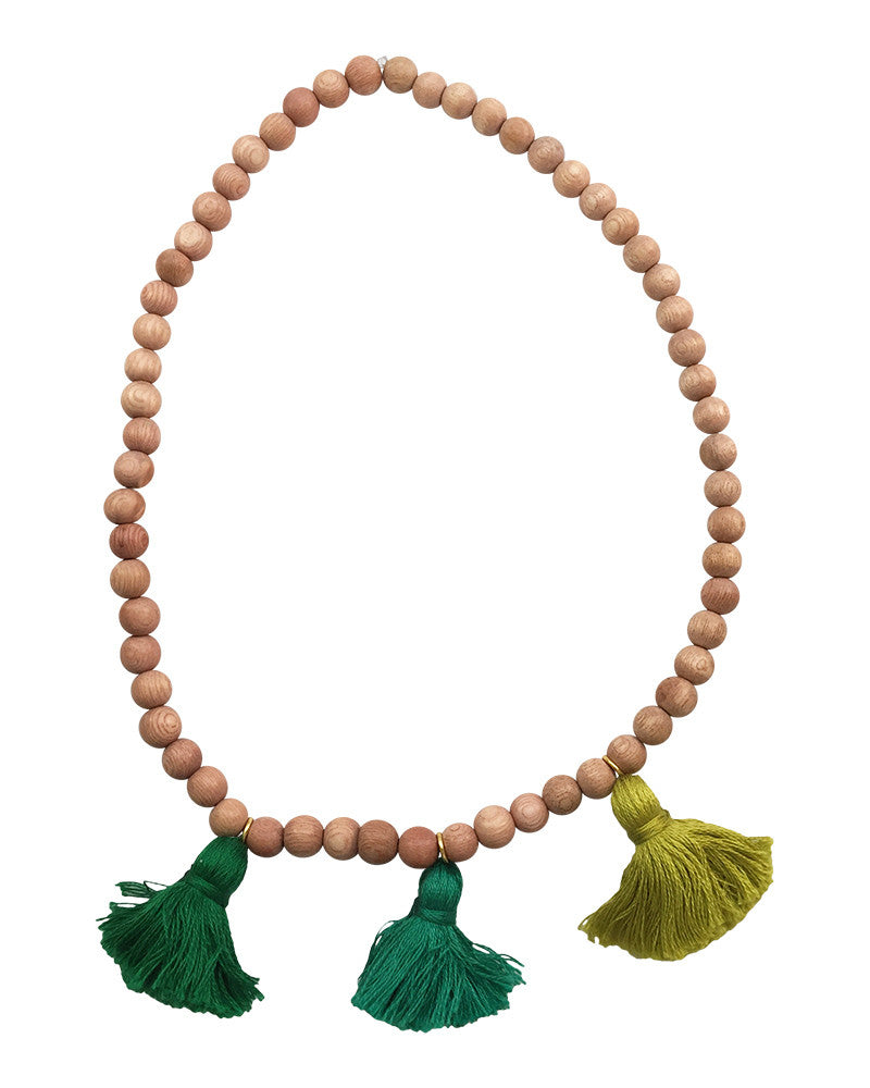 Boho Beads Green Beaded Tassel Necklace